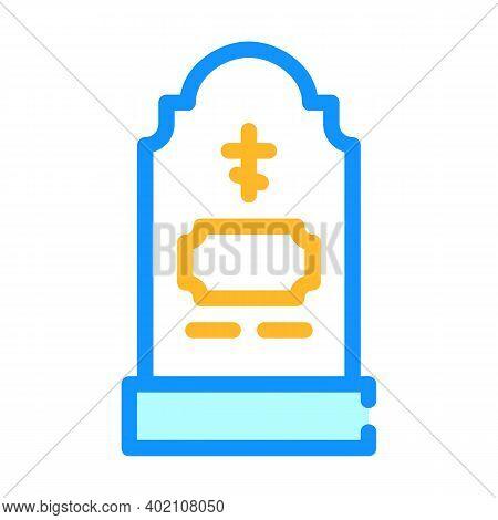 Grave Headstone Color Icon Vector Illustration Color