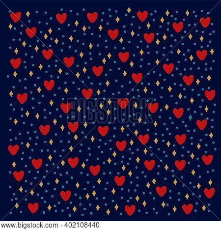 Pattern With Rings And Glitters. Background With Romantic Elements Of Red Hearts And Sequins. Cartoo