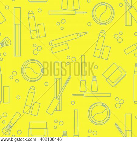 Seamless Pattern Of Decorative Cosmetics. Makeup. Eyeliner, Eyeshadow, Brush, Cream, Mascara. Glamou