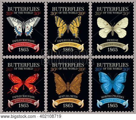 Set Of Old Postage Stamps With Various Beautiful Bright Butterflies And Their Names On The Black Bac