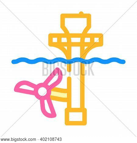 Ocean Electrical Tidal Power Plant Color Icon Vector Illustration