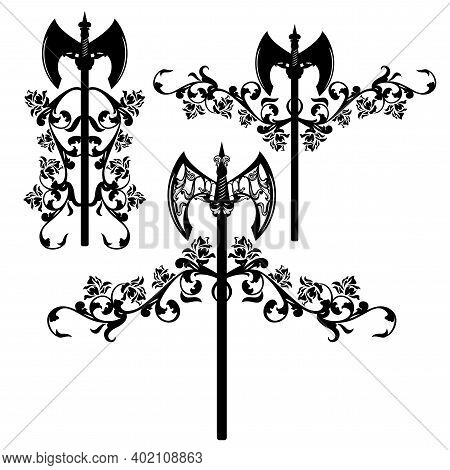 Medieval Style Battle Axe And Rose Flowers Design Set - Vector Heraldic Weapon Emblem