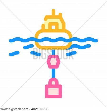 Floating Generator Tidal Power Plant Color Icon Vector Illustration