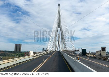 Castro Marim, Portugal - 5 January, 2021: Construction Site And Traffic On The Puente Internacional