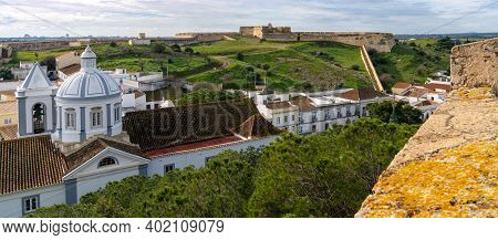 Castro Marim, Portugal - 5 January, 2021: The Picturesque Village Of Castro Marim And Castle Behind