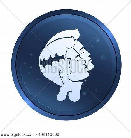 Two Men Faces Close To Each Other With Eyes Closed. Flat Design Gemini Zodiac Sign Depicting Twins.