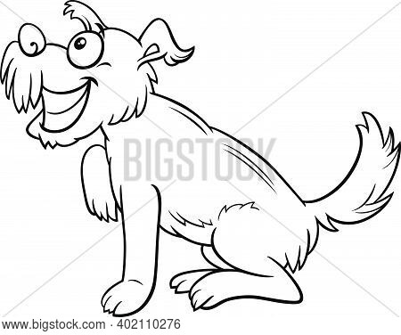 Black And White Cartoon Illustration Of Funny Shaggy Dog Comic Animal Character Coloring Book Page