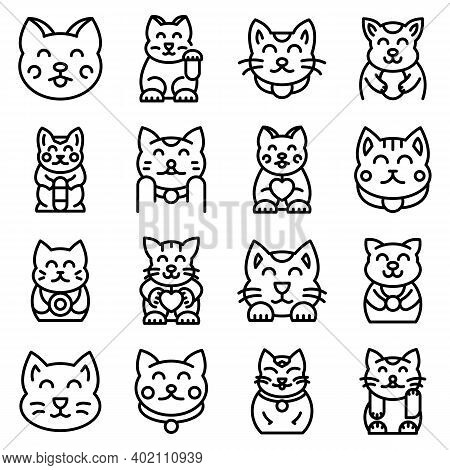 Lucky Cat Icons Set. Outline Set Of Lucky Cat Vector Icons For Web Design Isolated On White Backgrou