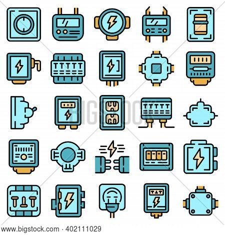 Junction Box Icons Set. Outline Set Of Junction Box Vector Icons Thin Line Color Flat On White