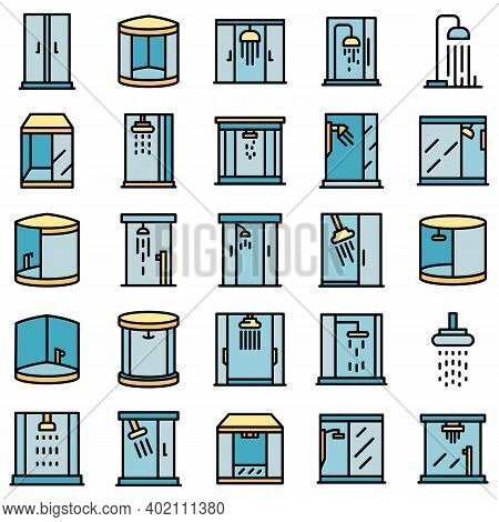 Shower Stall Icons Set. Outline Set Of Shower Stall Vector Icons Thin Line Color Flat On White