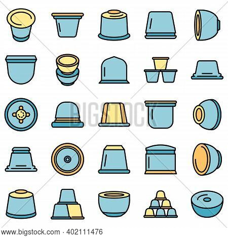 Capsule Coffee Icons Set. Outline Set Of Capsule Coffee Vector Icons Thin Line Color Flat On White