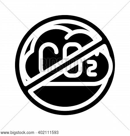 Without Carbon Dioxide Emissions Glyph Icon Vector Illustration
