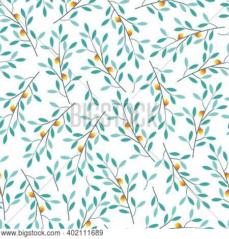 Stylish Seamless Vector Floral Ditsy Pattern Design Of Vibrant Leaves And Trees. Modern Foliage Repe