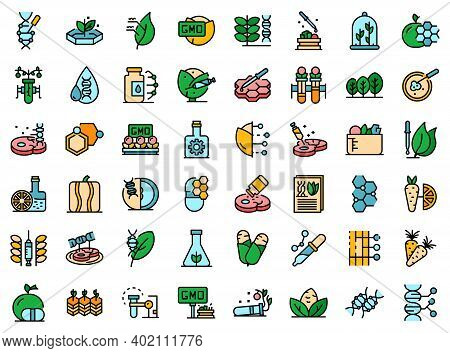 Gmo Food Icons Set. Outline Set Of Gmo Food Vector Icons Thin Line Color Flat On White