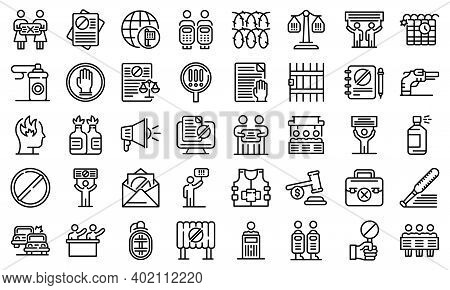 Disobedient Icons Set. Outline Set Of Disobedient Vector Icons For Web Design Isolated On White Back