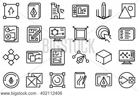 Redesign Icons Set. Outline Set Of Redesign Vector Icons For Web Design Isolated On White Background