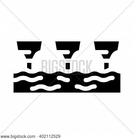 Sea Electric Tidal Power Plant Glyph Icon Vector Illustration