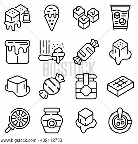 Salted Caramel Icons Set. Outline Set Of Salted Caramel Vector Icons For Web Design Isolated On Whit