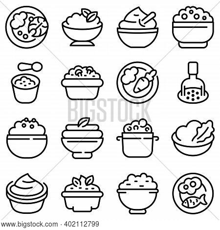 Mashed Potatoes Icons Set. Outline Set Of Mashed Potatoes Vector Icons For Web Design Isolated On Wh