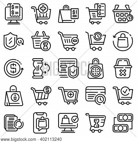 Purchase History Icons Set. Outline Set Of Purchase History Vector Icons For Web Design Isolated On