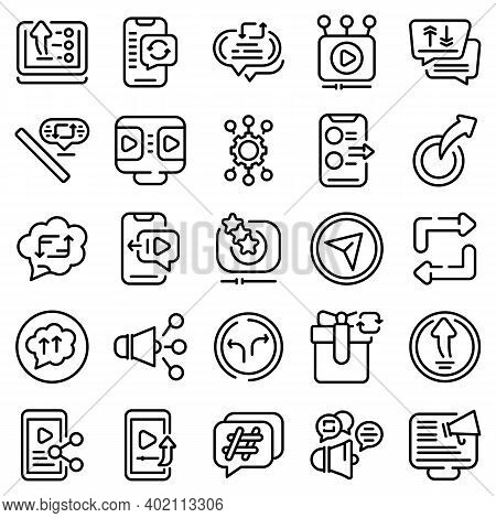 Repost Icons Set. Outline Set Of Repost Vector Icons For Web Design Isolated On White Background