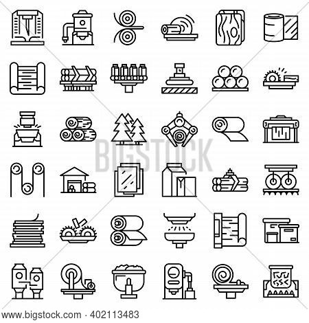 Paper Production Icons Set. Outline Set Of Paper Production Vector Icons For Web Design Isolated On