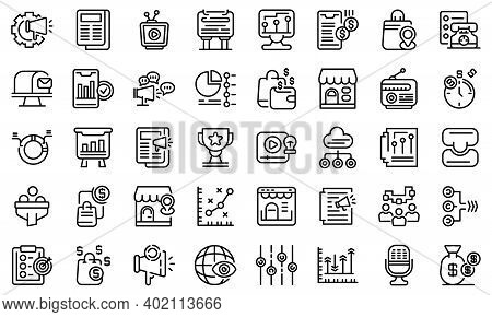 Marketing Mix Icons Set. Outline Set Of Marketing Mix Vector Icons For Web Design Isolated On White