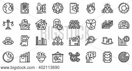 Market Segmentation Icons Set. Outline Set Of Market Segmentation Vector Icons For Web Design Isolat