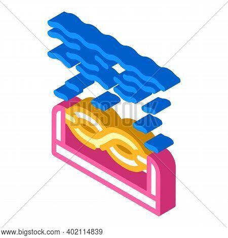 Electric Energy Underwater Tidal Power Plant Isometric Icon Vector Illustration