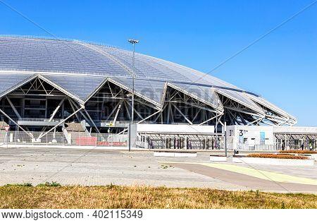 Samara, Russia - October 4, 2020: Samara Arena Football Stadium In Sunny Day
