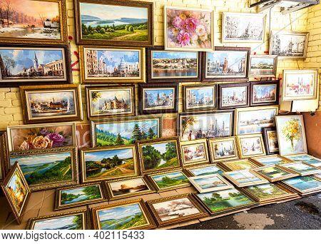 Samara, Russia - May 4, 2019: Paintings For Sale On Leningradskaya Street In Sunny Day