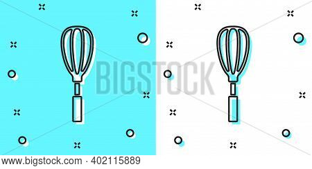 Black Line Kitchen Whisk Icon Isolated On Green And White Background. Cooking Utensil, Egg Beater. C