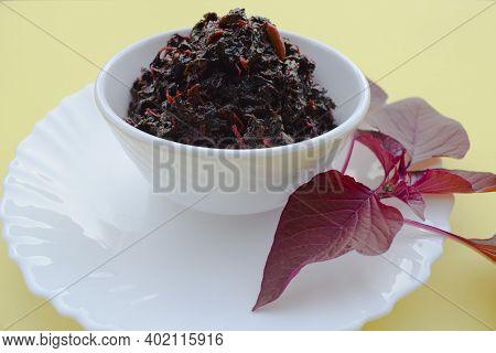 Red Chowli Bhaji Or Amaranth Leaves . Indian Curry Sabji Made Of Fresh Red Spinach Amaranth Leaves.