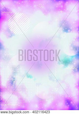 Luminous Background With Liquid Neon Shapes. Purple Fluid. Fluorescent Cover With Bauhaus Gradient.