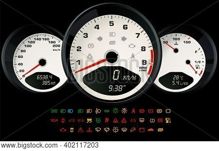 Car Control White Interface With A Set Of Information Icons Indicating The Status Of The Car. Vector