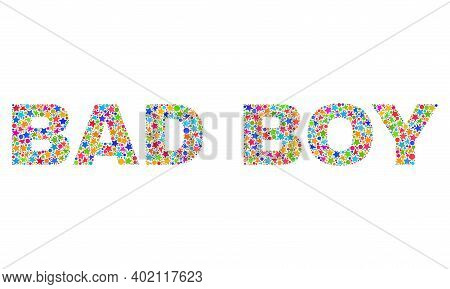 Bad Boy Text With Bright Mosaic Flat Style. Colorful Vector Illustration Of Bad Boy Text With Scatte