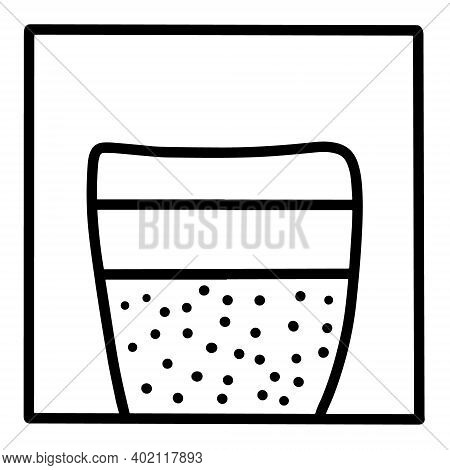 Chia Pudding Hand Drawn Vector Icon Doodle Logo In Cartoon Style Black White Contrast