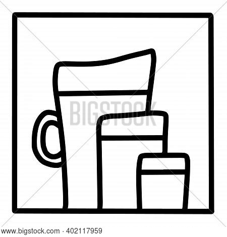 Juice Smoothie Hand Drawn Vector Icon Doodle Logo In Cartoon Style Black White Contrast