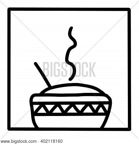 Rice Bowl Hand Drawn Vector Icon Doodle Logo In Cartoon Style Black White Contrast