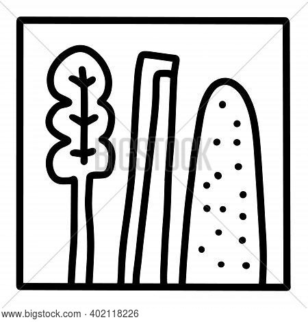 Green Plants Spinach Celery Cucumber Hand Drawn Vector Icon Doodle Logo In Cartoon Style Black White