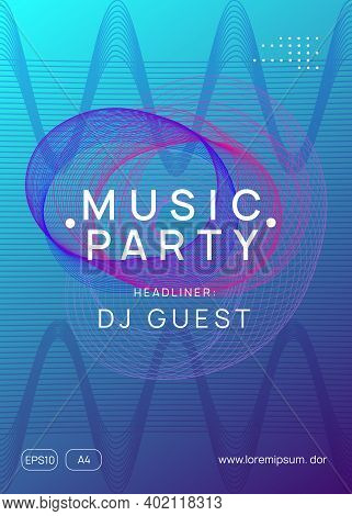 Dj Party. Dynamic Gradient Shape And Line. Wavy Discotheque Invitation Concept. Neon Dj Party Flyer.
