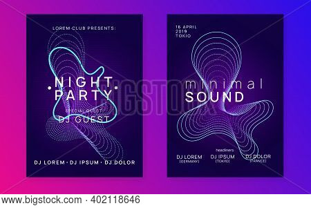 Electronic Fest. Dynamic Fluid Shape And Line. Minimal Discotheque Invitation Set. Neon Electronic F
