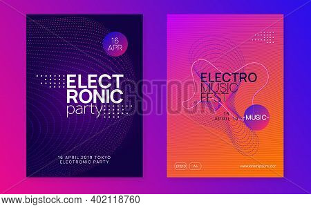 Electronic Event. Dynamic Fluid Shape And Line. Modern Discotheque Magazine Set. Neon Electronic Eve