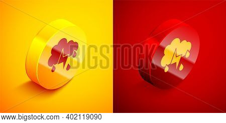 Isometric Cloud With Rain And Lightning Icon Isolated On Orange And Red Background. Rain Cloud Preci