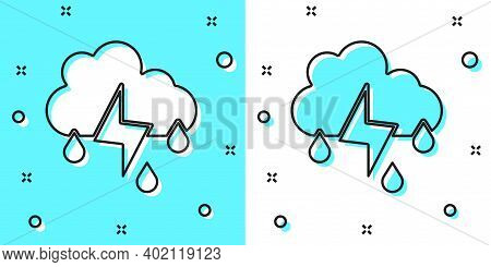 Black Line Cloud With Rain And Lightning Icon Isolated On Green And White Background. Rain Cloud Pre