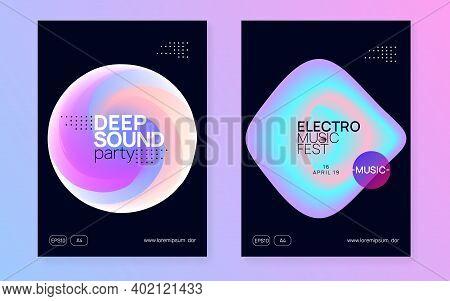 Music Fest Set. Electronic Sound. Night Dance Lifestyle Holiday. Wavy Trance Event Brochure Design.