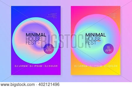 Music Fest Set. Electronic Sound. Night Dance Lifestyle Holiday. Fluid Holographic Gradient Shape An