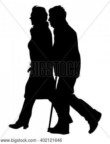 Elderly woman and man with a stick is walking down the street. Isolated silhouette on a white background