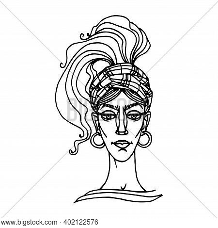Head Of A Cute Young Gypsy Woman In A Checkered Hat, Scarf And Earrings, Avatar, Vector Illustration