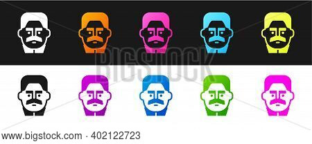 Set Portrait Of Joseph Stalin Icon Isolated On Black And White Background. Vector